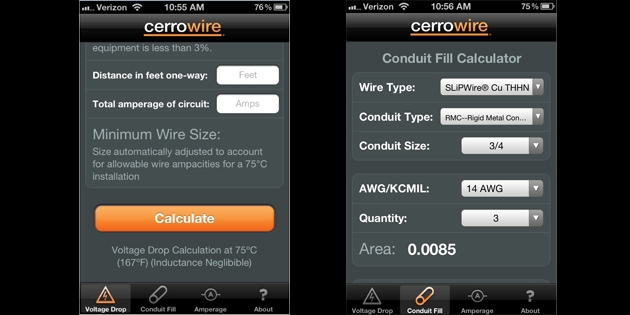 Cerro wire iphone and ipad app for contractor calculations voltage drop and amperage all within a simple mobile app using the conduit fill calculator users can enter the type of conductor the size greentooth Images