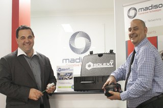 Madison's Lee Papadimitrious and Mario Greco check out the new Solexy range