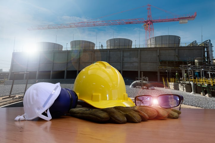 safety equipment for work outdoor at utility construction site