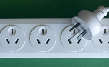 Australian and New Zealand three pin mains 230v power socket board and plug